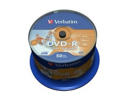 Диск Verbatim Диски DVD-R 4.7Gb 16х, Wide Photo InkJet Printable, 50шт, Cake Box