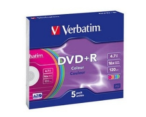 Verbatim и DVD+R 16х, 4.7Gb, Colour (Slim Case, 5шт.) (43556)