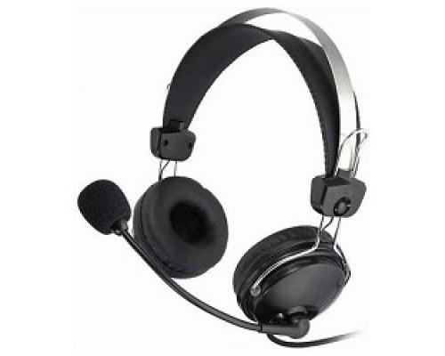 A4Tech HS-7P, Черный Гарнитура стерео, монитор. типа, закрытые, рег. громкости с выкл, 20-20000Гц 32 Ом 97дБ, кабель, 3.5 jack 3 pin
