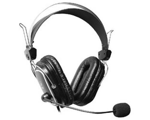 A4Tech HS-50,Черный(серебристые вставки) Гарнитура стерео, монитор типа, закрытые, рег громкости, 20-20000Гц 32 Ом 97дБ, микр подвижн, кабель 2, 3.5 jack 3 pin