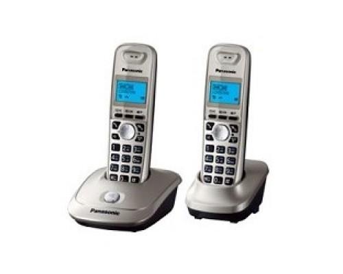 Panasonic KX-TG2512RUN (платиновый/золотой) Доп трубка в комплекте,АОН, Caller ID,спикерфон на трубке,полифония
