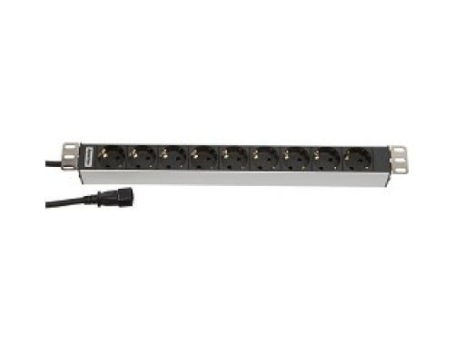 Hyperline SHT19-9SH-2.5IEC Блок розеток для 19 шкафов, горизонтальный, 9 розеток, 10 A, шнур IEC 320 C14 2.5м