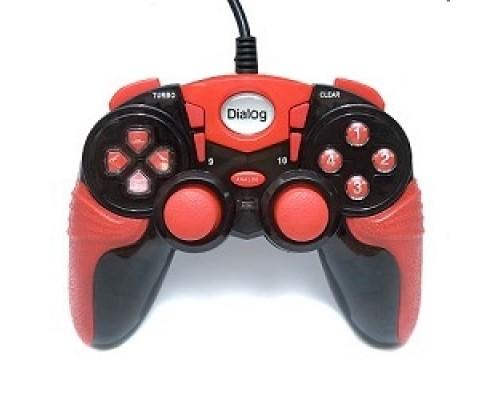 Геймпад Dialog Action GP-A15, черно-красный Геймпад, вибрация, 12 кнопок, USB
