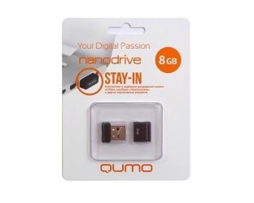 Носитель информации USB 2.0 QUMO 8GB NANO QM8GUD-NANO-B Black