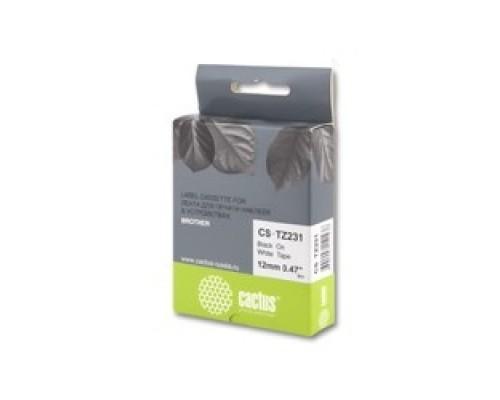 Cactus TZ-231 Лента CACTUS (CS-TZ231) для печати наклеек в устройствах brother P-touch 1010/1280/1280VP/2700VP, черный на белом, 12мм х 8м