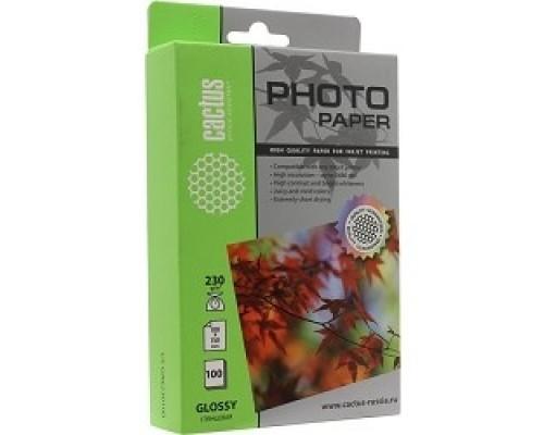 Бумага Cactus CS-GA6230100 10x15/230г/м2/100л./белый, глянцевое для струйной печати