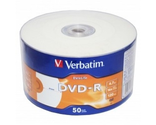 Verbatim Диски DVD-R 4,7 Gb 16x DataLife Inkjet Printable, Shrink, 50 шт (43793)