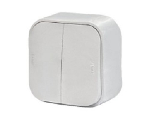 Legrand 782202 Выключатель 10A двухклавишный Quteo (Белый)