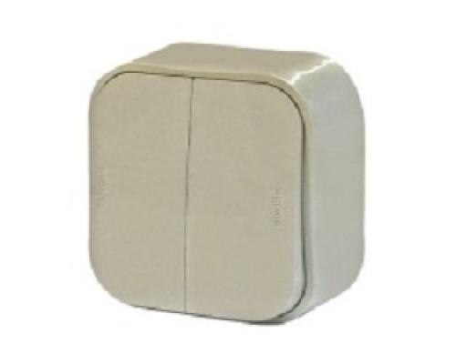 Legrand 782232 Выключатель 10A двухклавишный Quteo (Слоновая кость)