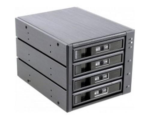 Procase L3-304-SATA3-BK Hot-swap корзина 4 SATA3/SAS 6Gb, черный, с замком, hotswap aluminium mobie rack module (3x5,25) 1xFAN 80x15mm