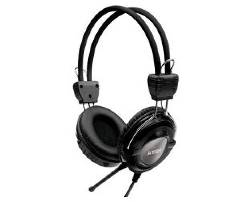 A4Tech HS-19-1, Grey/черный Гарнитура стерео, мониторного типа, динамик 40мм 20-20000Гц 32 Ом 102дБ, микрофон фикс 50дБ, амбешуры съемные, кабель 2m 3.5 jack 3pin