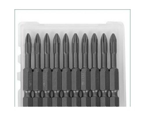 KRAFTOOL Биты EXPERT торсионные кованые, обточенные, Cr-Mo сталь, тип хвостовика E 1/4, PH2, 50мм, 10шт 26121-2-50-10