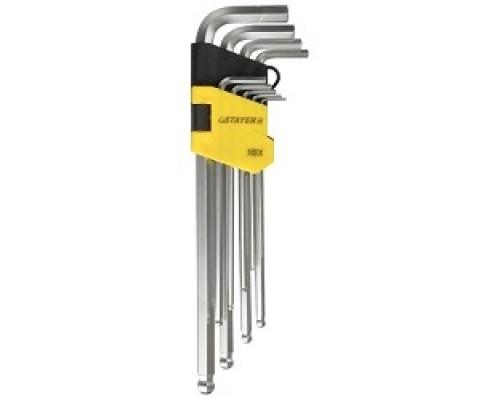 Набор STAYER (2741-H9-2) Ключи MASTER имбусовые длинные с шариком, Cr-V, сатинир. покрытие, пластик. держатель, HEX 1,5-10мм, 9 пр