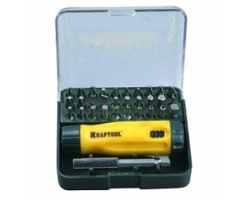 Наборы отверток KRAFTOOL Отвертка реверсивная битами адаптером, Cr-V, 32 предмета 26142-H32