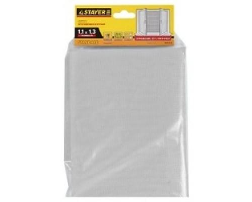 STAYER Сетка STANDARD противомоскитная, для окон, в индивидуальной упаковке, стекловолокно+ПВХ, белая, 1,1 х 1,3м 12515-11-13