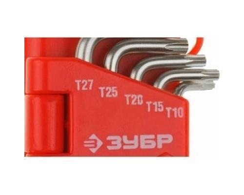 ЗУБР Набор Ключи МАСТЕР имбусовые короткие, Cr-V, сатинированное покрытие, пластик. держатель, TORX Т10-Т50, 9 пред 27462-1_z02