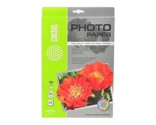 CACTUS CS-MA419025 Фотобумага Cactus CS-MA419025 матовая, A4, 190 г/м2, 25 листов