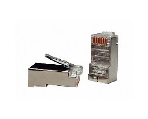 Hyperline PLUG-8P8C-U-C5-SH-100 Разъем RJ-45(8P8C) под витую пару, категория 5e (50 µ/ 50 микродюймов), экранированный, универсальный (для одножильного и многожильного кабеля) (100 шт)