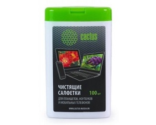 Чистящие средства  CACTUS Салфетки CS-T1005 Мини туба чистящими салфетками для планшетов, ноутбуков моб.тел.,100 шт