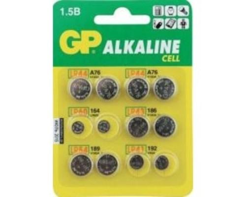 GP ACM01-CR12 12/1440 (Набор дисковых батареек, 12 шт. в уп-ке) Количество в упаковке — 12 (2 x LR41 (192), 2 x LR43 (186), 4 x LR44 (A76), 2 x LR54 (189), 2 x LR60 (164))