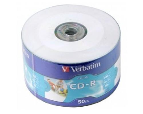 Диск Verbatim Диски CD-R 80min, 700mb, 52x Shrink/50 Ink Print 43794