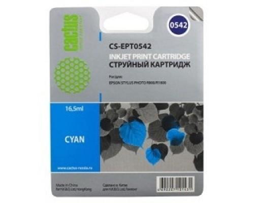 Cactus C13T05424010 Картридж струйный CS-EPT0542 голубой для Epson Stylus Photo R800/ R1800 (16,2ml)