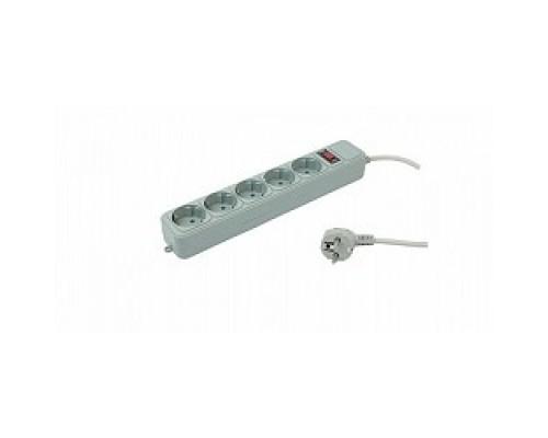PC PET Сетевой удлинитель AP01006-1.8-GR 1.8м (5 розеток, EURO, EURO/RUS), серый 619889