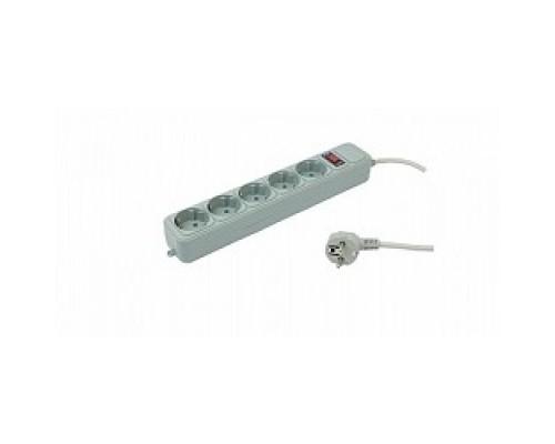PC PET Сетевой удлинитель AAP01006-3-GR 3м (5 розеток, EURO, EURO/RUS), серый 619890