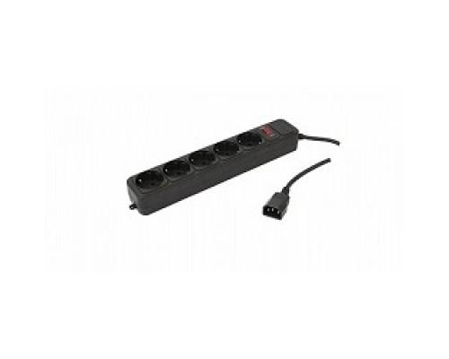 PC PET Сетевой удлинитель AP01006-E-BK 1.8м (5 розеток, входн.вилка IEC 320,выход.роз.EURO/RUS), черный 619892