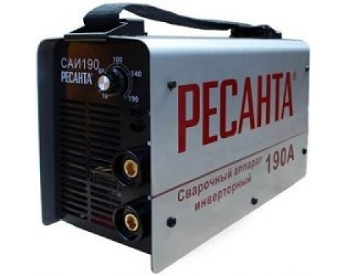 Ресанта САИ 190 65/2 Сварочный аппарат инверторный 65/2 154В-242В, макс.5,5кВт, 10А-190А, ПВ 70%, напр. холостого хода 80В, напр. 27В, макс. диаметр электрода 5мм, 4,7 кг 4606059015185