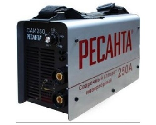 Ресанта САИ 250 65/6 Сварочный аппарат инверторный 65/6 154В-242В, макс.7,7кВт, 10А-250А, ПВ 70%, напр. холостого хода 80В, напр. 29В, макс. диаметр электрода 6,мм, 5 кг 4606059015659