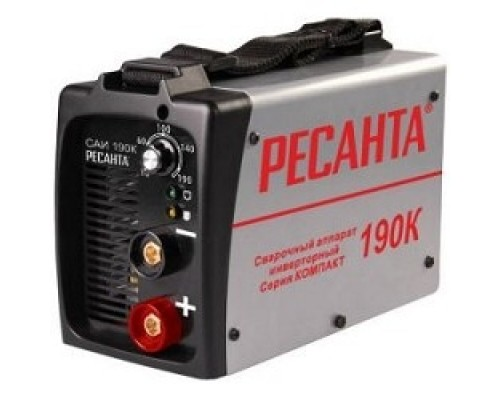 Ресанта САИ 190К 65/36 Сварочный аппарат компакт 65/36 154В-242В, макс.5,5кВт, 10А-190А, ПВ 70%, напр. холостого хода 80В, напр. 27В, макс. диаметр электрода 5мм, 3,5кг 4606059018872