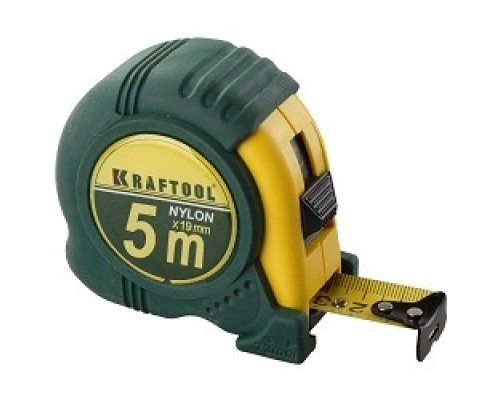 KRAFTOOL Рулетка EXPERT с нейлоновым покрытием, обрезин корпус, 5/25мм 34122-05-25_z01