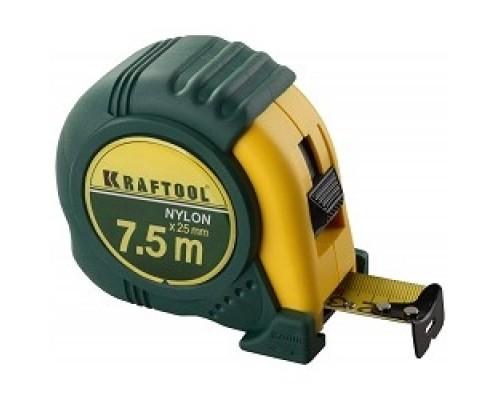 KRAFTOOL Рулетка EXPERT с нейлоновым покрытием, обрезин корпус, 7,5/25мм 34122-08_z01