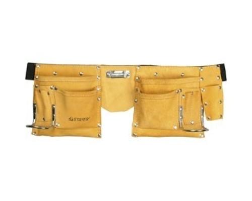 STAYER MASTER Пояс для инструментов, кожаный, 10 карманов, 2 скобы 38510