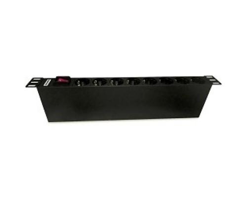 Hyperline SHE19-8SH-S-IEC Блок розеток для 19 шкафов, горизонтальный, с выключателем с подсветкой, 8 розеток Schuko (10А), 250В, без кабеля питания, входная розетка IEC 60320 C14, 482.6х44.4х44.4мм