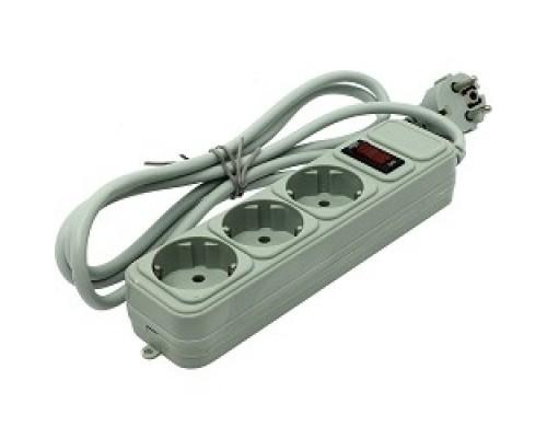 Exegate EX221177RUS Сетевой фильтр Exegate SP-3-1.8G (3 розетки, 1.8м, евровилка, серый)