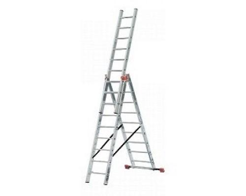 СИБИН Лестница универсальная,трехсекционная со стабилизатором, 11 ступеней 38833-11