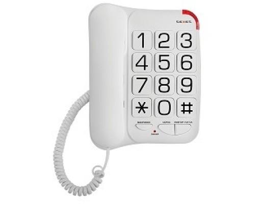 TEXET TX-201 белый проводной, повторный набор номера, кнопка выключения микрофона, регулятор громкости звонка, белый