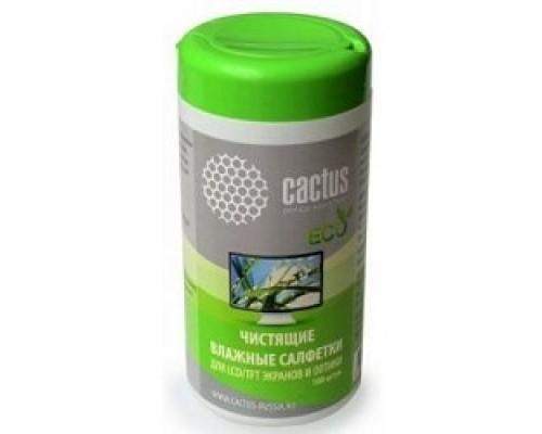 Чистящие средства  CACTUS Салфетки CS-T1001E для экранов оптики туба 100шт влажных