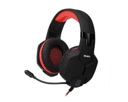 SVEN AP-G988MV черно-красный с полноразмерными наушниками закрытого типа, встроенный регулятор громкости, подключение: 2 x mini jack 3.5 mm, частота воспроизведения 20-20000 Гц