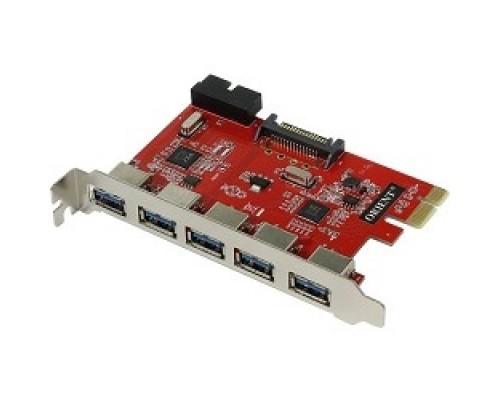 ORIENT VA-3U5219PE OEM PCI-Ex, USB 3.0 (USB 3.1 Gen1) 5ext/2int (19-pin) port, VIA VL805+VL813 chipset, разъем доп.питания, oem