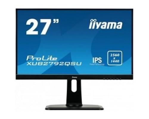 IIYAMA 27 XUB2792QSU-B1 черный IPS LED 2560x1440 75Hz 5ms 10bit(8bit+FRC) 16:9 350cd 1000:1 178/178 D-Sub DVI HDMI1.4 DisplayPort1.2 USB3.0 AudioOut 2x2W VESA