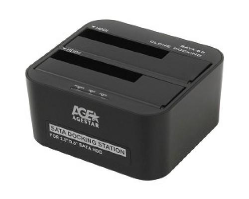 AgeStar 3UBT6(6G)(BLACK) USB 3.0 Докстанция 2x2.5/3.5 SATA HDD/SSD AgeStar 3UBT6-6G, пластик, черный, UASP, Clone