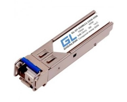 GIGALINK GL-OT-SG08LC1-1550-1310-D Модуль SFP, WDM, 1Гбит/c, одно волокно SM, LC, Tx:1550/Rx:1310 нм, DDM, 8 дБ (до 3 км)
