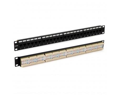 Hyperline PP3-19-48-8P8C-C6-110D Патч-панель 19, 2U, 48 портов RJ-45, категория 6, Dual IDC, ROHS, цвет черный (задний кабельный организатор в комплекте)