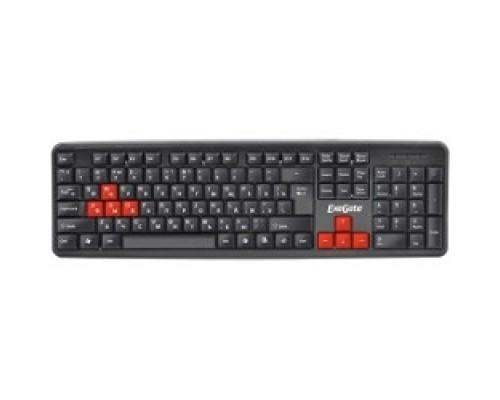 Клавиатуры Exegate EX264080RUS Клавиатура LY-403, <USB, черная, 105кл, Enter большой, красных клавиш> Color box