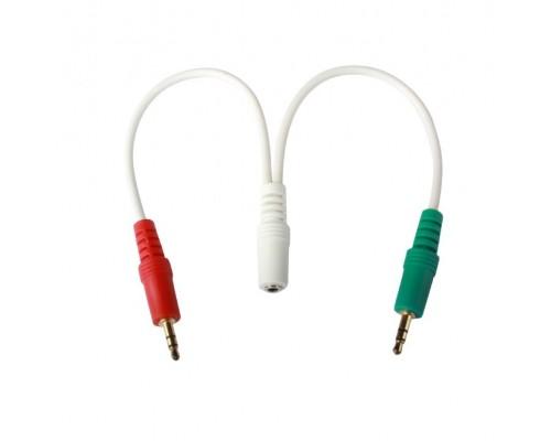 Кабель аудио сигнала Cablexpert, джек3.5 нушники + 3.5 микрофон-> джек3.5 4pin, длина 20см, белый