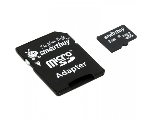 Micro SecureDigital 8Gb Smart buy SB8GBSDCL10-01 Micro SDHC Class 10, SD adapter