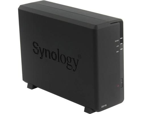 Synology DS118 Сетевое хранилище 1xHDD DC1,4GhzCPU/1Gb, SATA(3,5)/2xUSB3.0/1GigEth/iSCSI/2xIPcam(upto 15)/1xPS